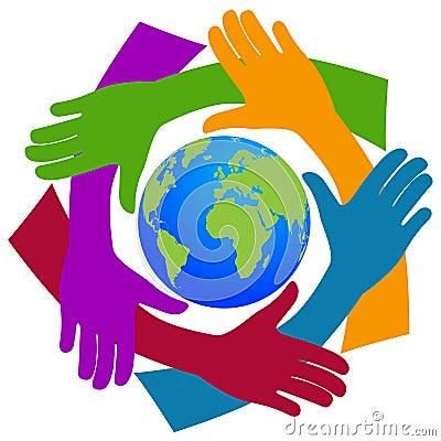 Hands around the world Vector Illustration