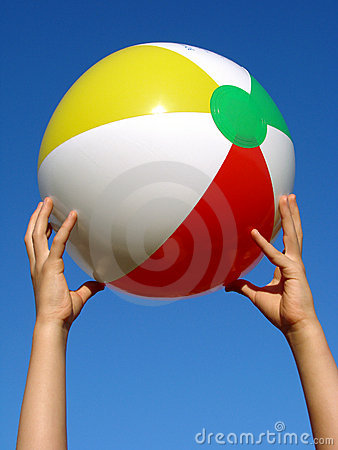 Hands with beach ball