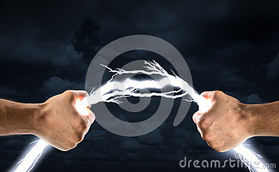 Hands bending lightning bolt