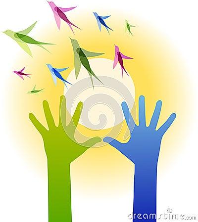 Hands, birds