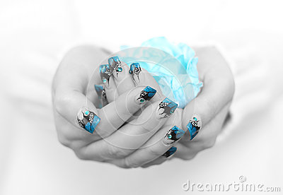 Hands with blue nail art
