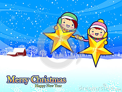 Hands of boys and girls seize on stars. Christmas Card Design Se