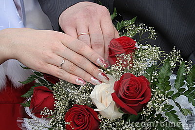 Hands of the bridegroom and bride
