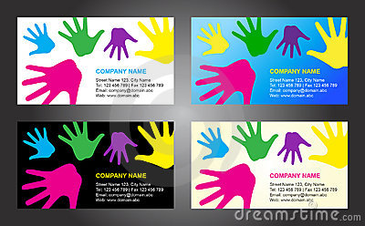 Hands business card template design