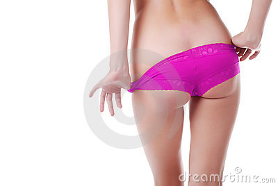 Hands and buttocks of young woman