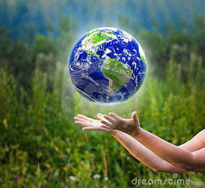 Hands catching globe