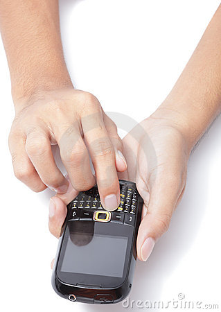 Hands on cellphone typing SMS