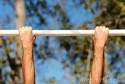 Hands on chin-up bars