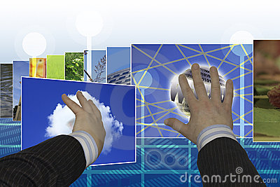 Hands choosing images on touchscreen interface