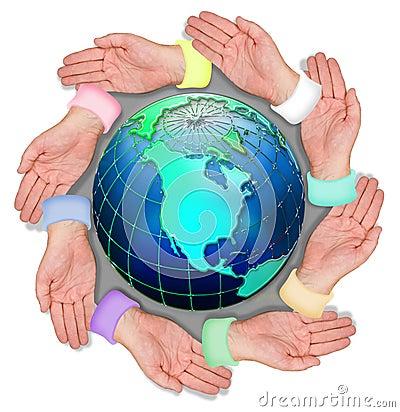 Hands circling world globe