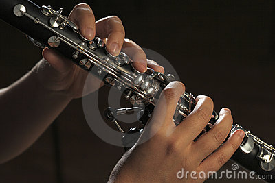 Hands of clarinet player