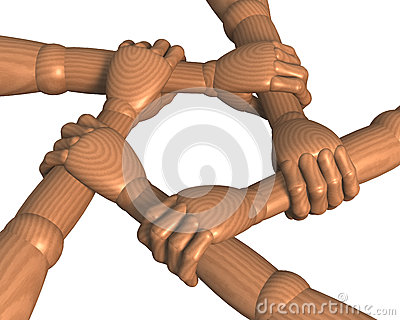 Hands clasping forearms ring, team building