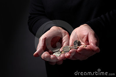 Hands With Coins Stock Image - Image: 13613631