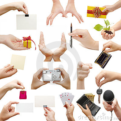 Free Hands Collage, Isolated On White Background Royalty Free Stock Photo - 11792515