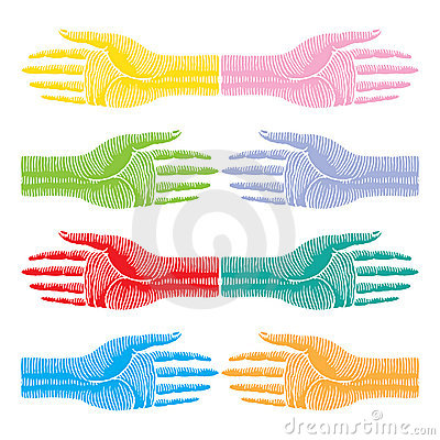 Hands color original woodcut