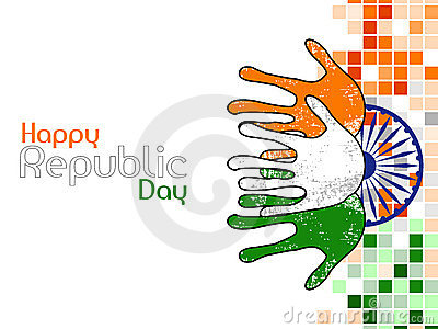 Hands colored in an Indian National flag colors.