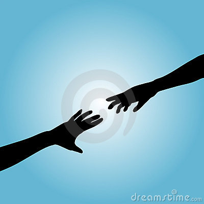 Free Hands Couple Silhouette Reach Royalty Free Stock Photos - 3225198