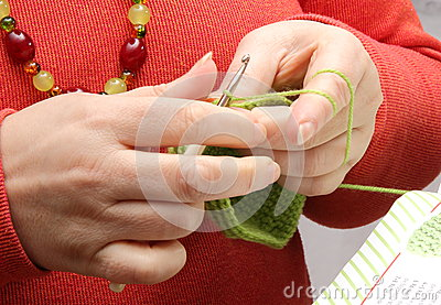 Crocheting With Hands : hands-crocheting-green-yarn-woman-s-crochet-hook-38839721.jpg