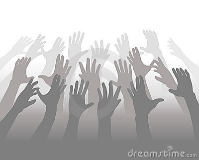 Hands of a Crowd of People Reach for Copyspace