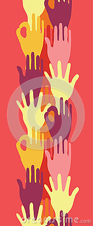Hands in the crowd vertical seamless pattern
