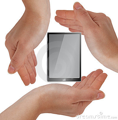 Hands with device