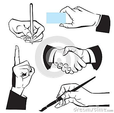 Hands - different gestures. Black