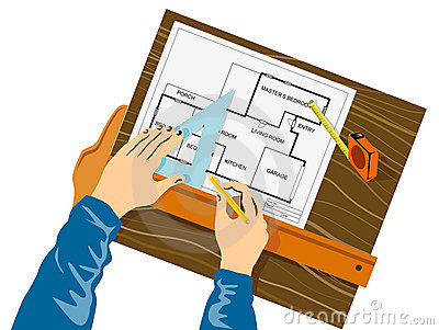 Hands drawing house plan