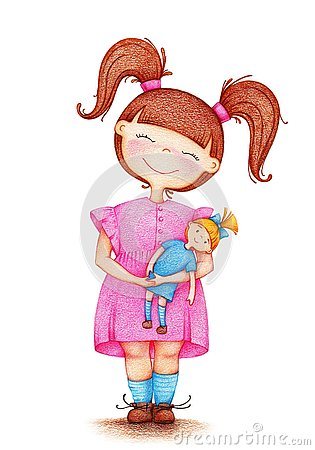 Free Hands Drawn Picture Of Girl Playing With Doll Royalty Free Stock Image - 129161996