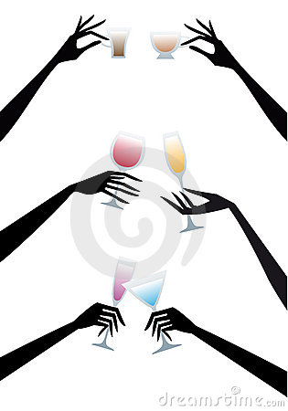 Hands with drinks,