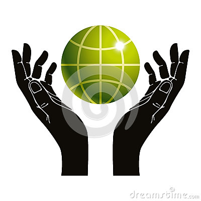 Hands and earth vector symbol.