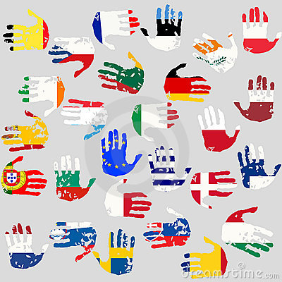 Hands with European Union flags