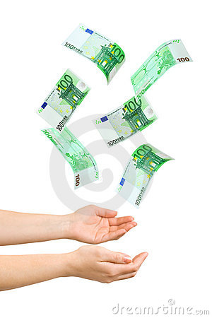 Hands and falling money