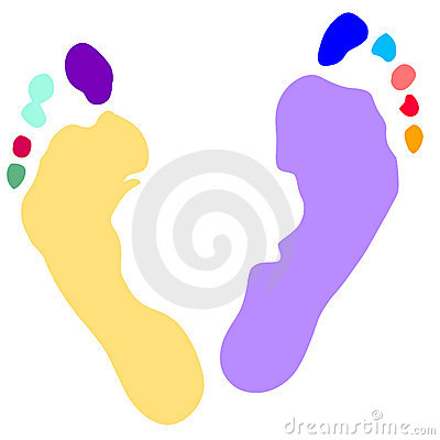 Hands and feet print, Vector