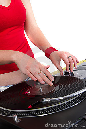 Hands of female dj scratching