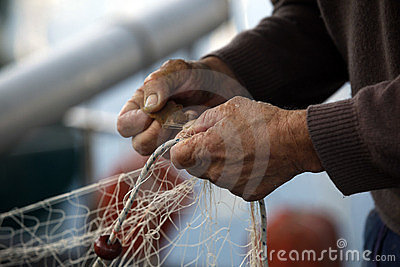 Hands of fisherman