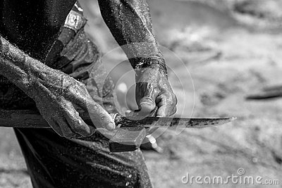 Hands of a fisherman with a knife.