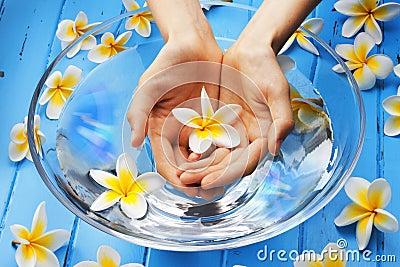 Hands Flowers Water