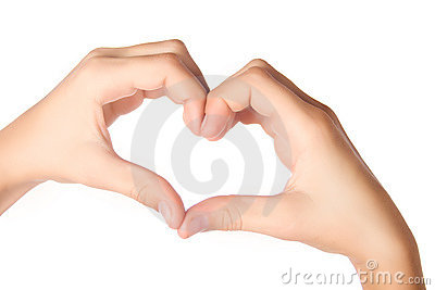 Hands forming heart shape isolated on white