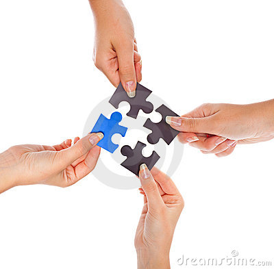 Hands with four puzzles