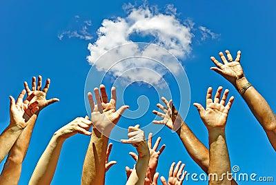 Hands for friendship heart for love