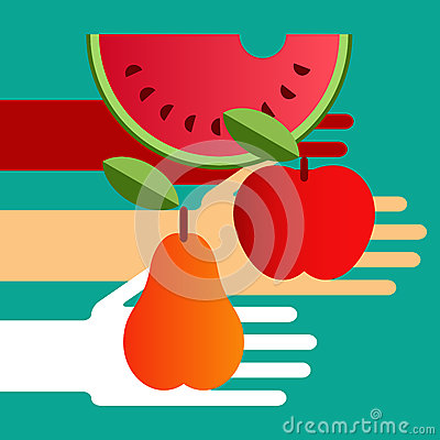 Hands with fruit