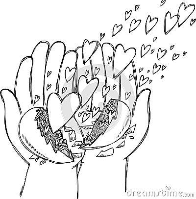 Hands full of flying hearts