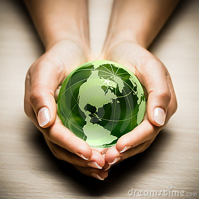 Hands with green Earth globe