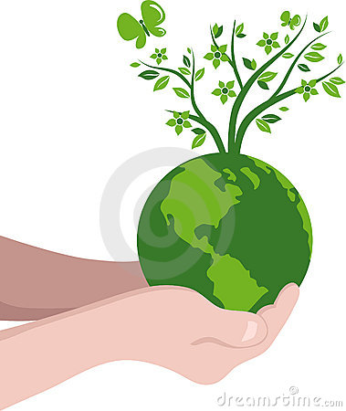 Hands with a green globe