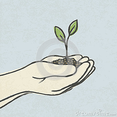 Hands with green sprout and dirt heap