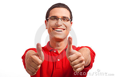 Hands of a Happy young man showing thumbs up