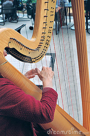 Hands on the harp