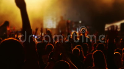 Hands and Heads of Spectators at a Concert. Rock music concert. A lot of spectators. Head, hands and applause