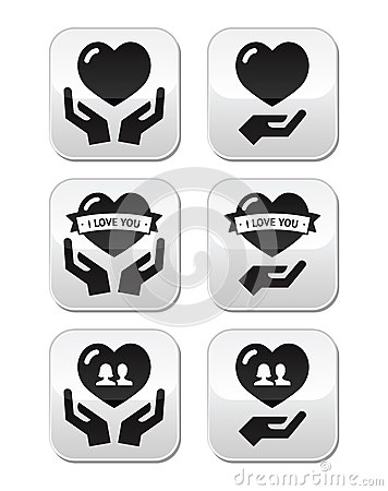 Hands with heart, love, relationship buttons set