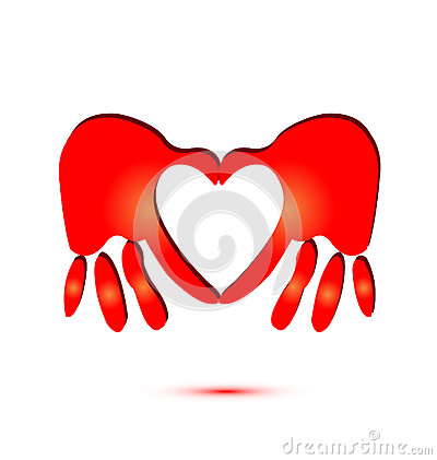 Hands and heart symbol logo